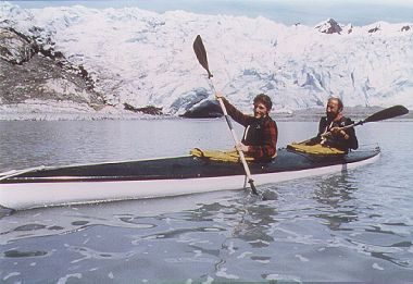 Double kayak near a tidewater glacier