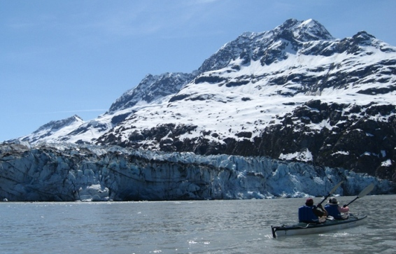 Kayaking in front of Margerie Glacier, West Arm of Glacier Bay